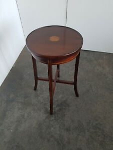 Round Side Table Mahogany With Inlaid Um 1900