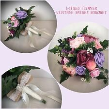WEDDING FLOWERS PINK LILAC SILK FOAM BRIDE BOUQUET VINTAGE COUNTRY PEONY FOLIAGE
