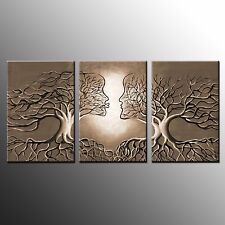 FRAMED  Abstract Oil Painting Canvas Art PrintsTree Wall Art Canvas Print-3pcs