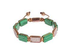 18K Gold 925 Bracelet Mluxpl s. S Nwt $400 Nialaya Authentic Men's Cz Malachite