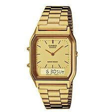 Mens Gold Casio Watch Dual Time Analog Digital Steel Band AQ-230GA-9DMQ *New