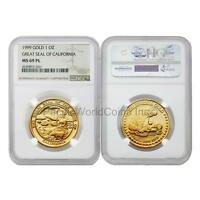 USA 1999 Great seal of California 1 oz Gold NGC MS69 PL