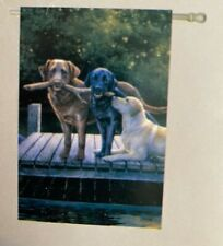 "Silk Reflections ""Dog Days"" decorative 29 x 43 Labrodors house flag. Nip"
