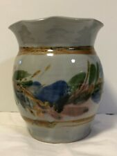 Art Pottery pot with ruffled top, Hand-thrown, kiln-fired vase, Signed pot