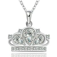 PRINCESS CROWN NECKLACE 18K White Gold Plated - Queen Crown Charm Necklace *NEW*
