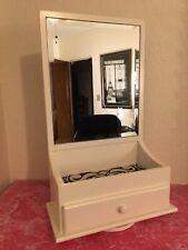 White Rotating Jewelry Box Chest Organizer Drawer+Beveled Mirror Tabletop Swivel