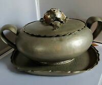 Vintage Italian PEWTER TUREEN with Lid and Under Tray signed Peltro