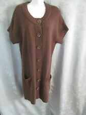 Apt. 9 Sweater Dress Size XL Button Front Cardigan Cap Sleeve Flat Knit  NWT NEW