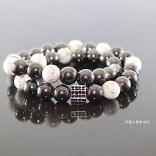 Herren Damen Wickelarmband Howlith Edelstein-Perlen Hämatit Armreif für Männer