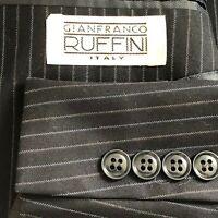 Gianfranco Rufinni Italian navy blue striped suit men size 38r pants 31x31