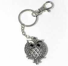 Silver MAGNIFYING GLASS  Owl  Design  Wallet Purse Charm KEY CHAIN