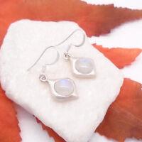 Mondstein blau weiß, modern rund Ohrringe, Ohrhänger, 925 Sterling Silber, neu