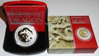 Australien 1 Oz Silber Lunar II Drache 2012 vergoldet ( Gilded ) im Etui