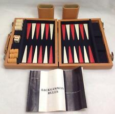 Vintage Travel Backgammon Cream Fabric Case Magnetic, 1970's