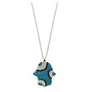 BLUE HAMSA NECKLACE PENDANT W/ LAB DIAMONDS & TURQUOISE / 925 STERLING SILVER
