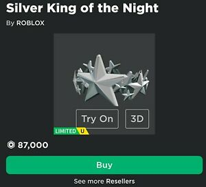Silver King Of The Night - Rich Robloxian Hat - Insane Demand - Cute - 85000 R$