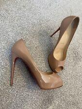 Christian Louboutin Very Prive Nude Heels Size 38.5, Reheeled & Resoled 120 Heel