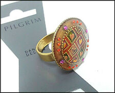 NEW PILGRIM GOLD PLATED RING ROUND MULTICOLED CRYSTALS ENAMEL HEARTS ADJUSTABLE