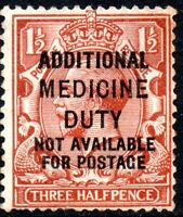 SG 362 1912 1½d red-brown with 'Additional Medical Duty' Overprint Used