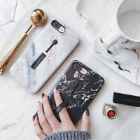 For iPhone XS Max XR 6 7 8 Plus Marble Pattern Ring Holder Stand TPU Case Cover