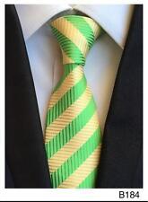 jaune et bande verte à motif fait à la main 100% soie CRAVATE Mariage