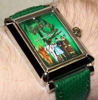 Wizard Of OZ 70th Anniversary Rectangle Analog Quartz Green Watch Tin Case.