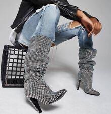 Steve Madden Crushing Rhinestones Crystal Glitter Slouchy Knee High Boot 6.5 7