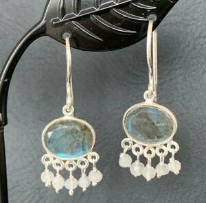 925 Sterling Silver Labradorite Oval Disc Rainbow Moonstone Earrings Gemstone
