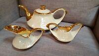 Homer Laughlin Cream Iridescent 22K Gold Lusterware 1944 Teapot Sugar Cream Set