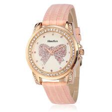 Alias Kim Pink Leather Bracelet Band Crystal Paved Dial Women's Lady Wrist Watch
