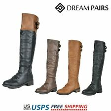 DREAM PAIRS Women's Over The Knee Boots Faux Leather Military Combat Boots