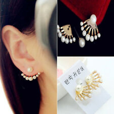 1Pair New Fashion Women Lady Elegant Pearl Rhinestone Ear Stud Earrings Jewelry