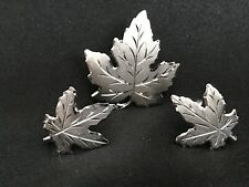 VINTAGE ENCO STERLING SILVER MAPLE LEAF PIN/BROOCH  & CLIP EARRING SET -BOXED