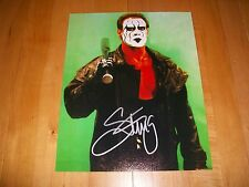 """*Wwe/Wcw """"The Icon"""" Sting Signed Vintage Bat 8X10 Green: With Onsite Proof!*"""