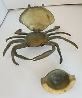 Vintage Solid Brass Crab Ashtray Trinket Box with Hinged Jewelry Compartmant VTG