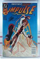 🔥 SIGNED! IMPULSE #1 HUMBERTO RAMOS NEWSSTAND VARIANT DC 1995 FLASH TEEN TITANS
