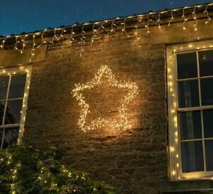90cm Outdoor LED Christmas Starburst Gold Star Silhouette Motif Wall Decoration