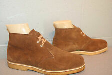 6.5 M NOS Mens BROWN SUEDE VTG 70s CHUKKA JOUSTERS FLEECE LINED NEW BOOTS Shoe