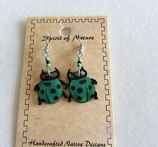 Spirit of Nature Earrings Ladybug - green and black -beads french wire
