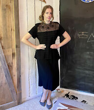 Vintage 40s Vamp Black Sheer Floral Cord Lace Tiered Pleat Bustle Dress sz L/XL