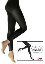 Women's Leather look Black Medium Control Shimmer  150 Denier Legging Pants