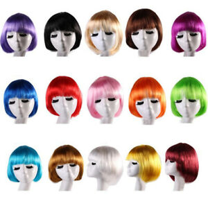 16 Colors Womens Short Hair Bob Wigs Bangs Party Cosplay Fashion Nature Wig J