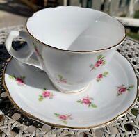 ROYAL KENT English Bone China Tea Cup Saucer Set Pink Roses Floral Staffordshire
