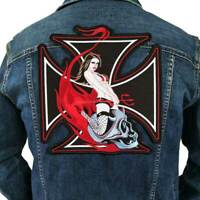 Large lady red Iron On Patch Embroidered Sewing Label punk biker Patches Badge