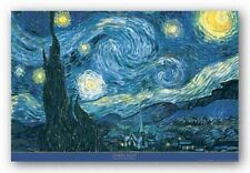 ART POSTER Starry Night Vincent Van Gogh Blue Border