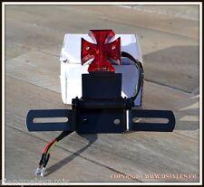 Support de plaque + feu stop Croix De Malte à LED - NEUF - moto custom harley
