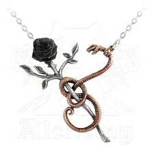 New Alchemy Gothic Black Rose for Eve Snake Pendant Necklace Pewter P689