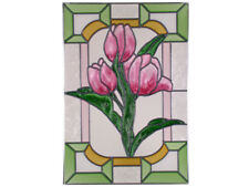 14x20 Tulips Pink Floral Stained Art Glass Suncatcher