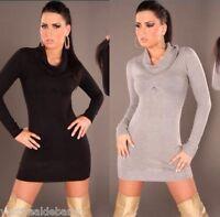 Miniabito in Maglia Donna Pullover Lungo Vestitino Vestito ISF A767 Tg S/M L/XL