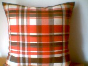 """Pillow COVER 16"""" black red white plaid"""